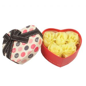 Paper roses in gift box, Paper, Yellow, 11cm x 10cm x 5cm, (LHH041)